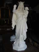 Statue vierge Marie ancienne en plâtre plein 380 Château-l'Évêque (24)