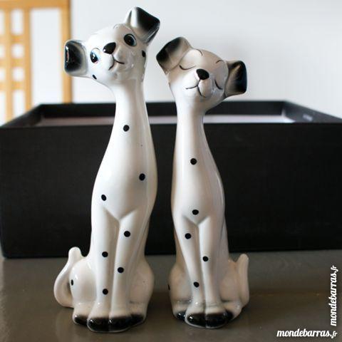 Statuettes «couple 101 Dalmatiens» en faïence 20 Cabestany (66)