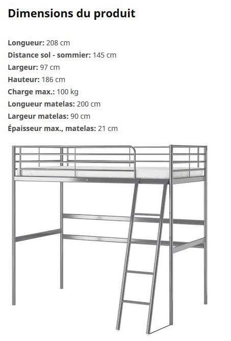 Structures Ikea lit mezzanine gris 90 x 200 cm peu servis 65 Boulogne-Billancourt (92)