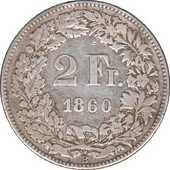 Suisse 2 francs 1860B 95 Couzeix (87)