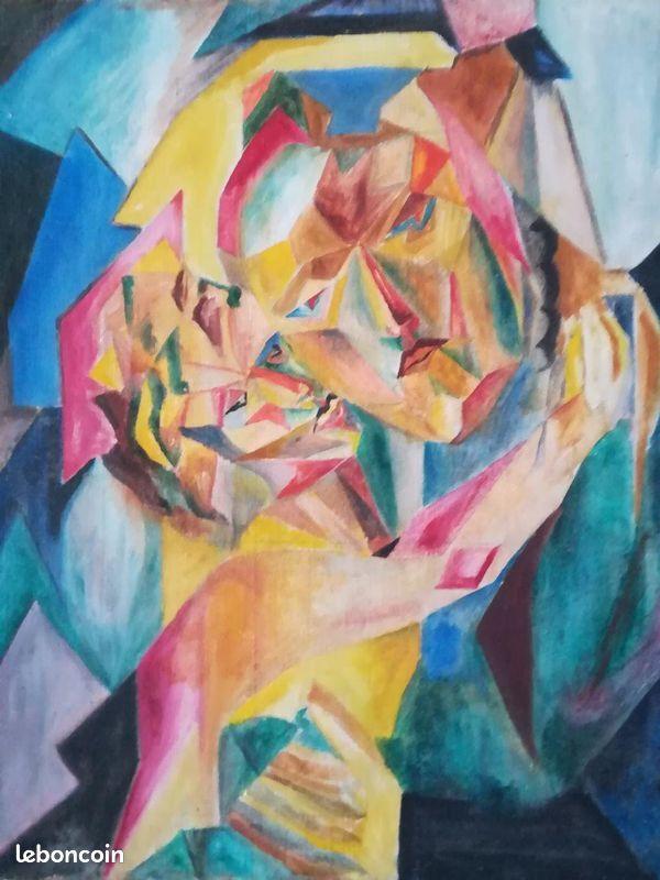 Superbe peinture ancienne sur toile(double face)  sans cadre 320 Apt (84)