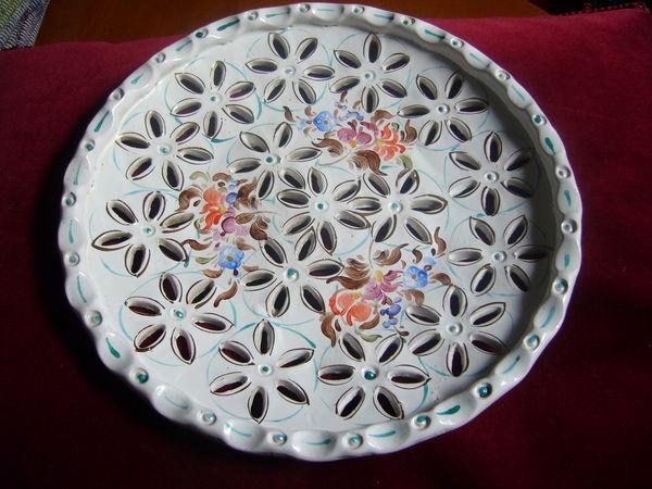 superbe plat faïence décoré main 1930 20 Paris 18 (75)
