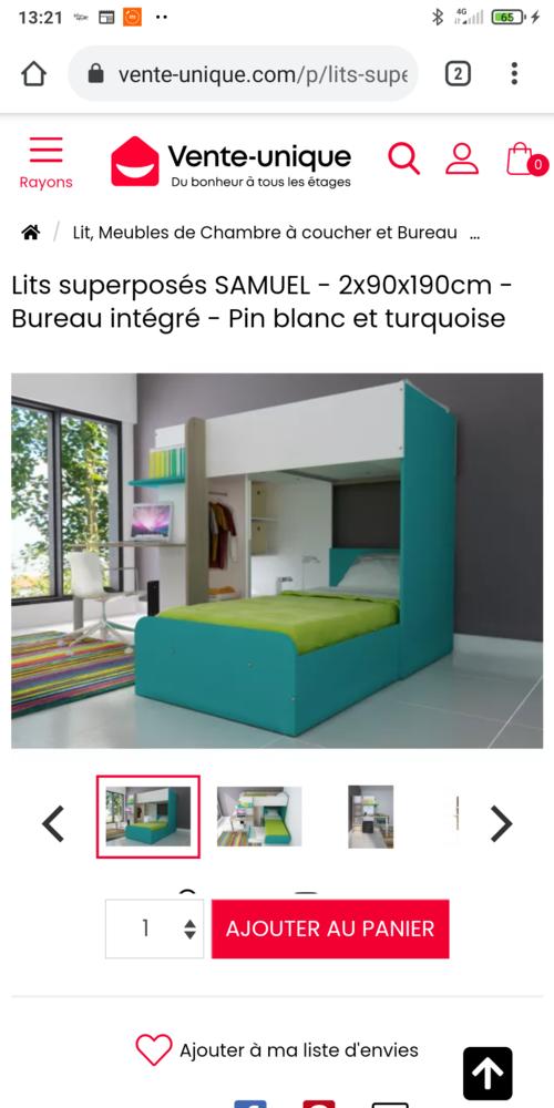 Lit superposé bureau et penderie intégrés et tiroir de lit 250 Asnières-sur-Seine (92)