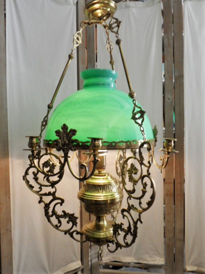 SUSPENSION LUSTRE LAMPE ART NOUVEAU OPALINE BRONZE CUIVRE or 359 Marseille 11 (13)