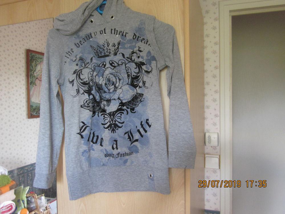 sweat-shirt gris à capuche 14 ans 2 Soucelles (49)