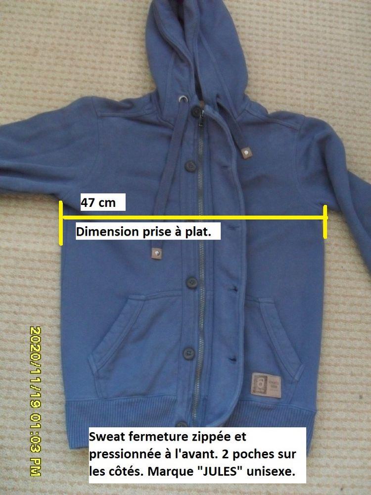 Sweat T 36/38 zippée et pressionnée à capuche - Bleu Chiné 3 Feuguerolles-Bully (14)