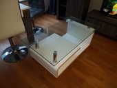 Table basse blanche laquée avec plateau en verre 200 Paris 6 (75)