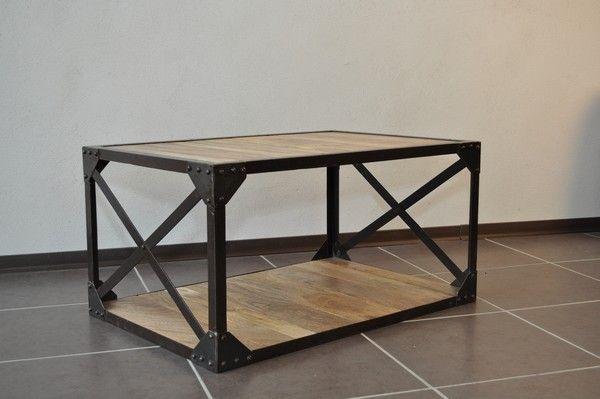 Table basse bois massif et m tal industrielle meubles - Plan de table basse en bois ...