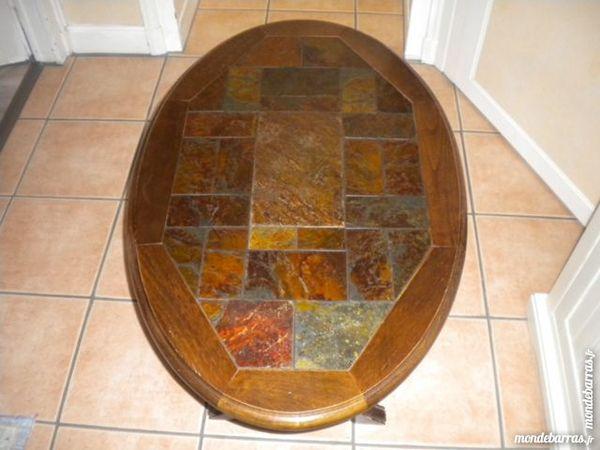 Table basse bois dessus ardoise