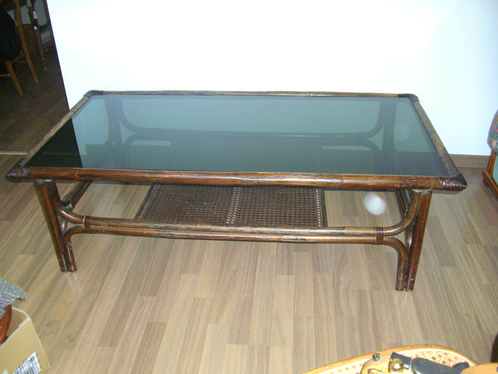 Table basse bois + plateau dessus verre 20 Puilboreau (17)