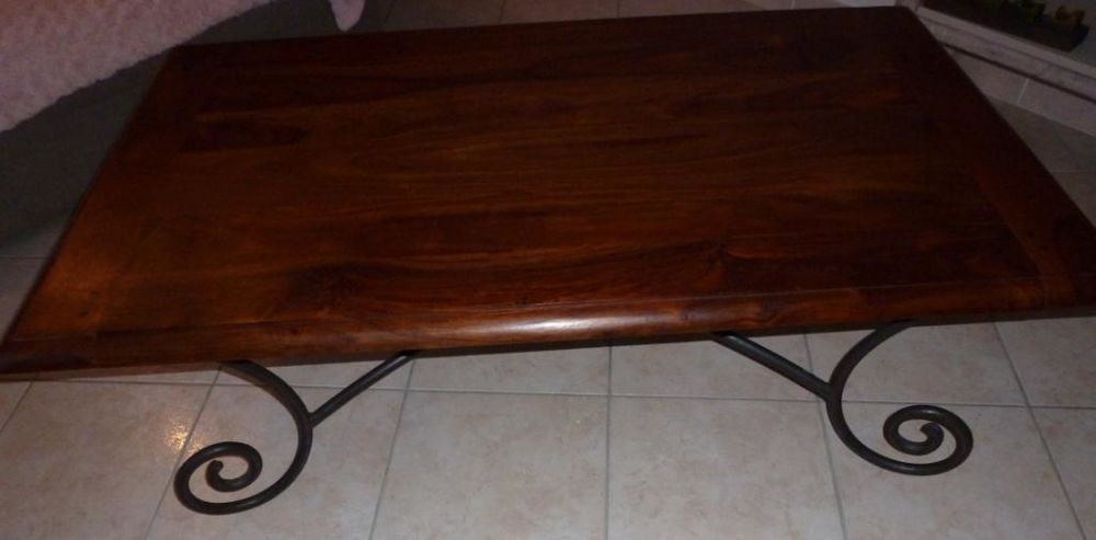 Table basse bois et fer forgé. 80 Salon-de-Provence (13)