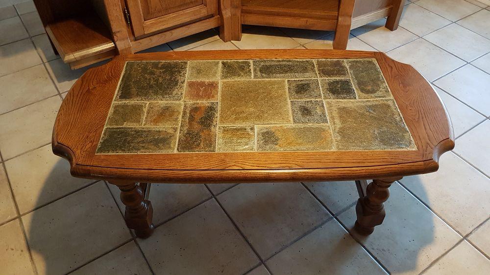 TABLE BASSE CHÊNE MASSIF ET PLATEAU SCHISTE 80 Périgny (17)
