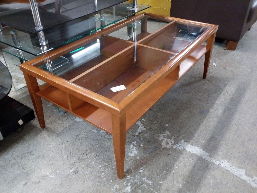 Table basse contemporaine bois et verre 80 Toulouse (31)