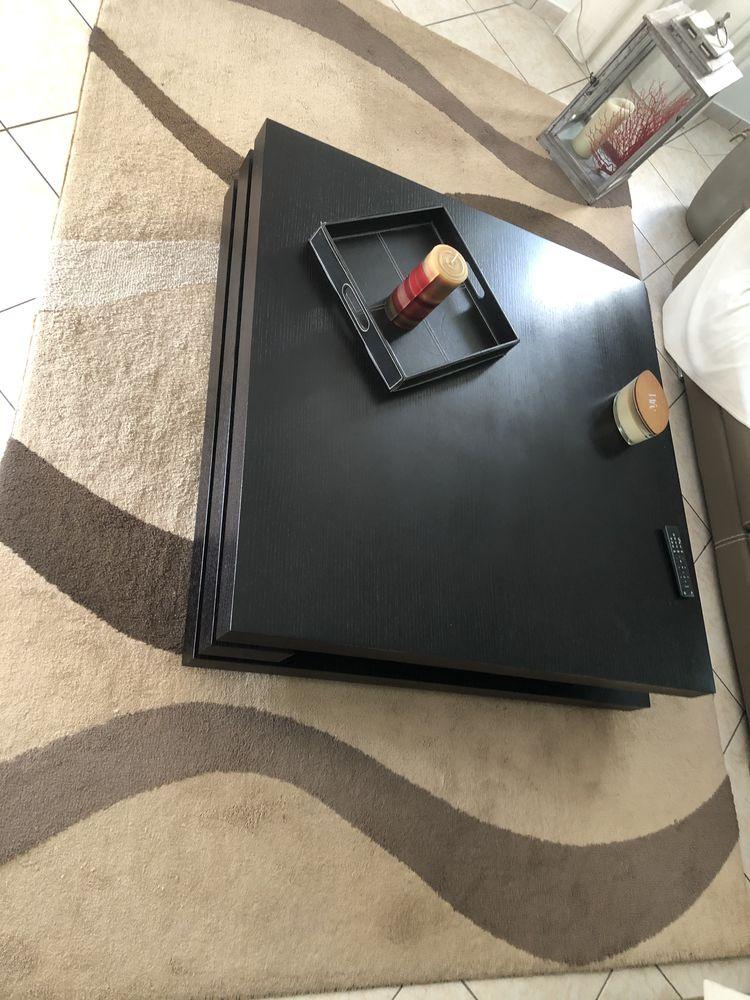 TABLE BASSE DECO CARRÉE 120x120cm noir Meubles