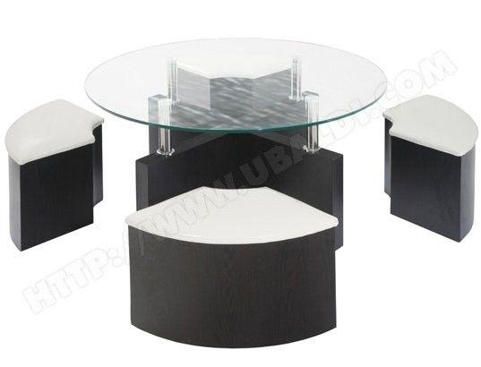 Table basse en dessus verre avec 4 poufs.  160 Chenoise (77)