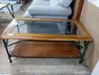Table basse fer forgé et verre et bois