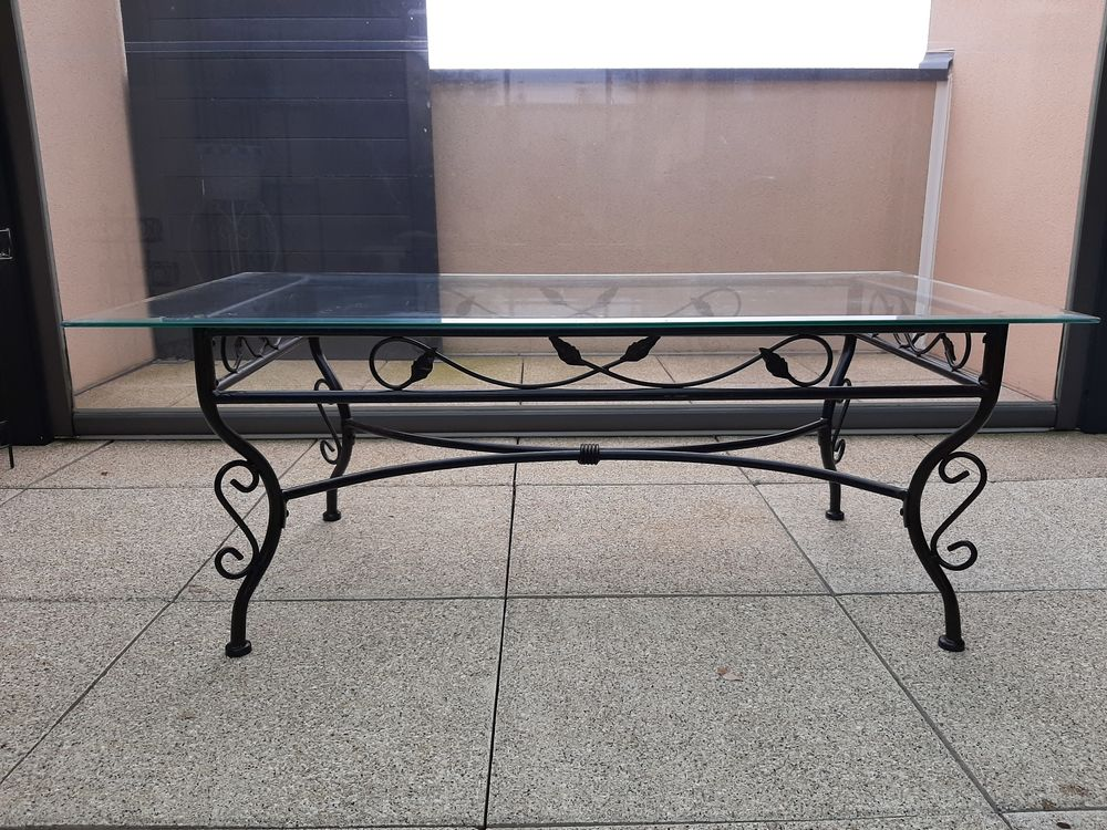 Table basse en fer forgé et plateau en verre 20 Bruz (35)