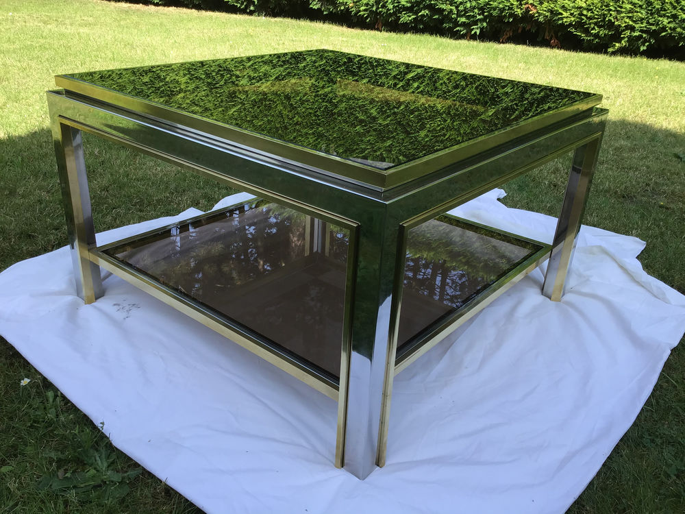 Table basse en laiton et acier inoxydable  1800 Valenciennes (59)