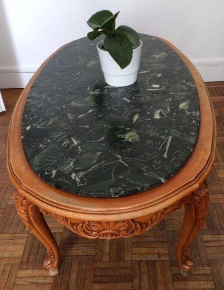Table basse merisier et marbre à restaurer 30 Courbevoie (92)