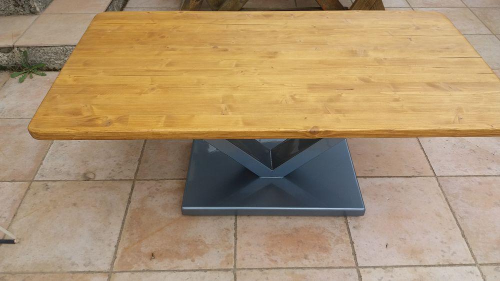 Table basse pin métal 130 Vernègues (13)