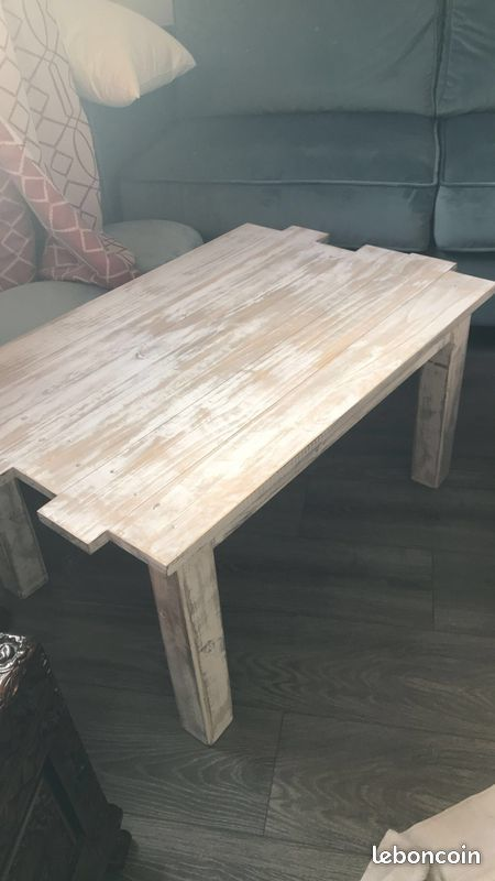Table basse NEUVE bois recyclé Patine blanche 100 euros 100 Montreuil (93)