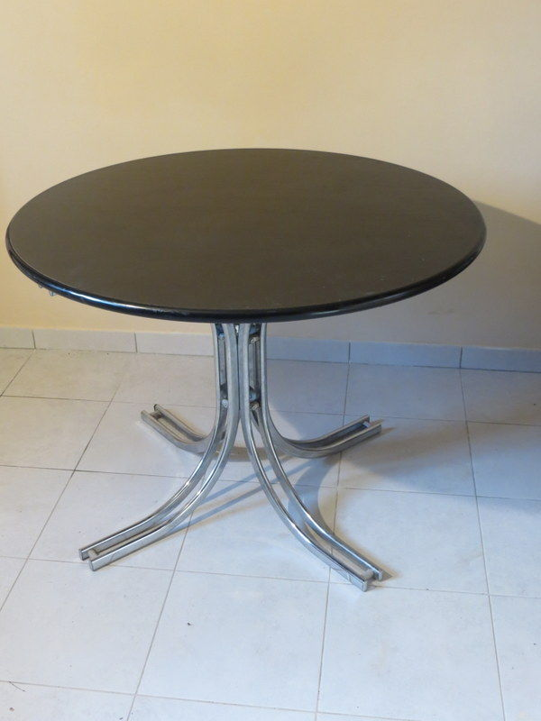 Table basse ronde plateau amovible noir diamètre 100cm .