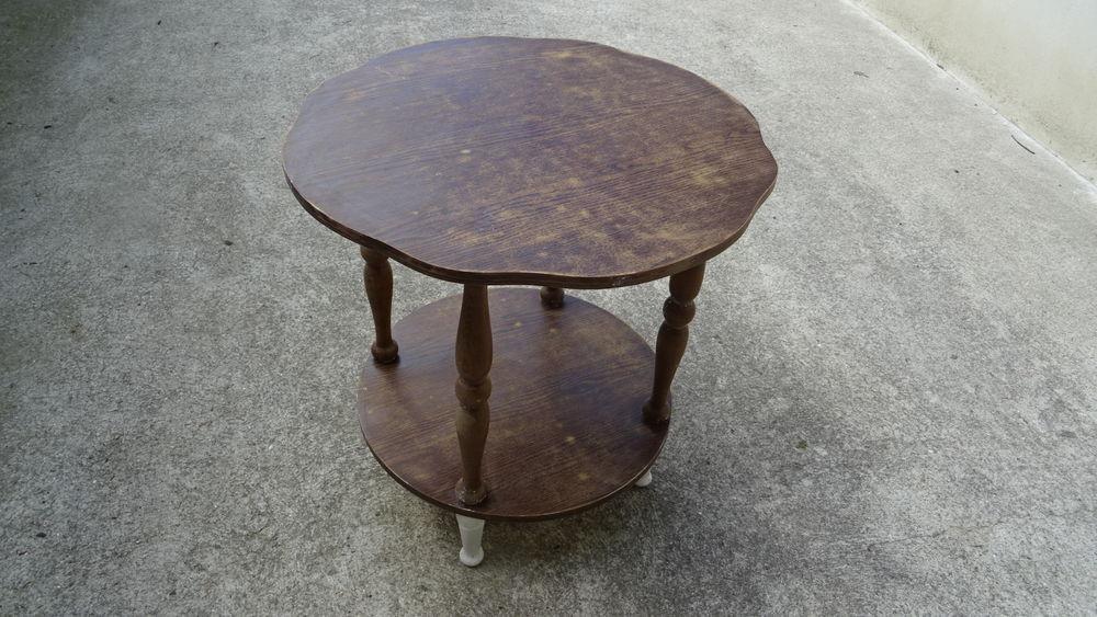 Repeindre Une Table Basse En Bois.Table Basse Ronde En Bois Avec 2 Plateaux Et A Repeindre