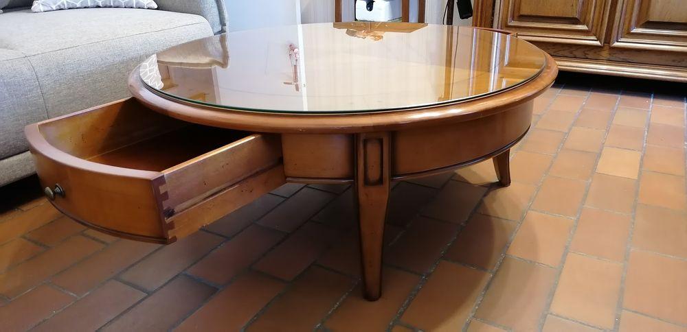 Table basse ronde en merisier massif 2 tiroirs  390 Soulac-sur-Mer (33)
