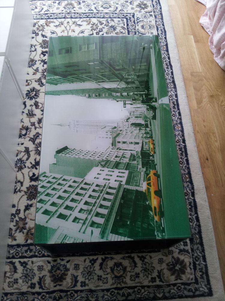 Table basse de salon en verre design - Imprimé New York 80 Paris 12 (75)