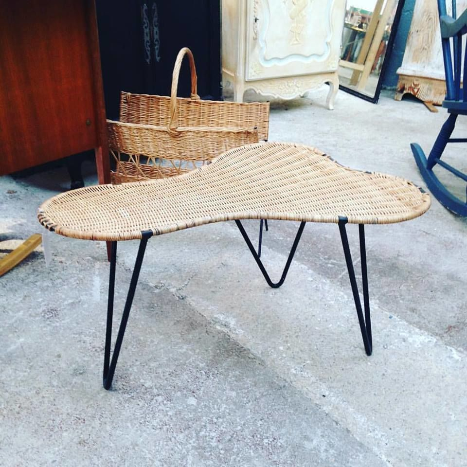 table basse tripode osier pieds pingle annes 50 vintage dcoration