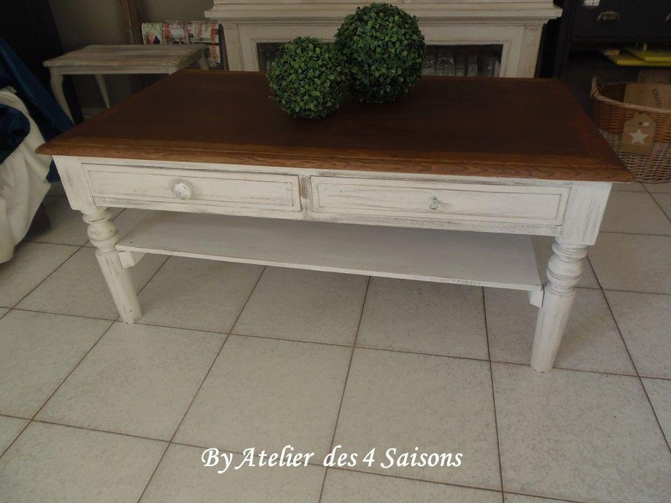 Table basse vintage patinée gris perle plateau chêne  190 Houilles (78)