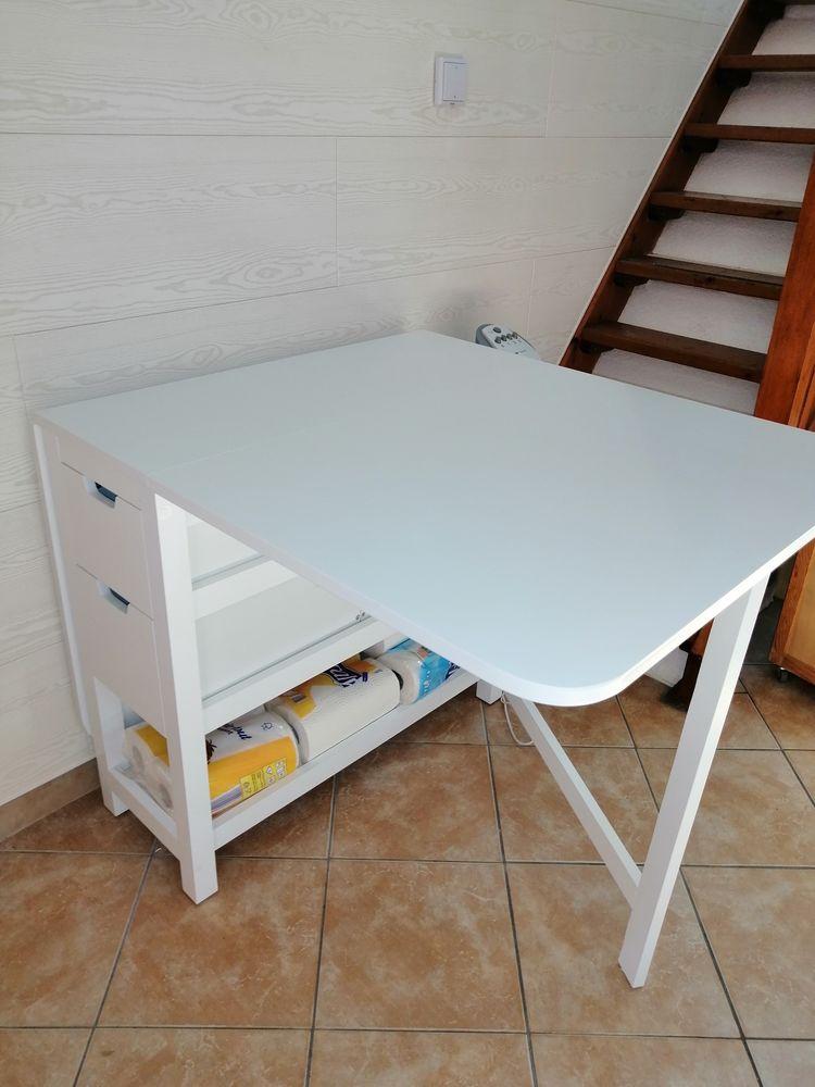 table blanche avec 4 grands tiroirs 90 Gruissan Plage (11)