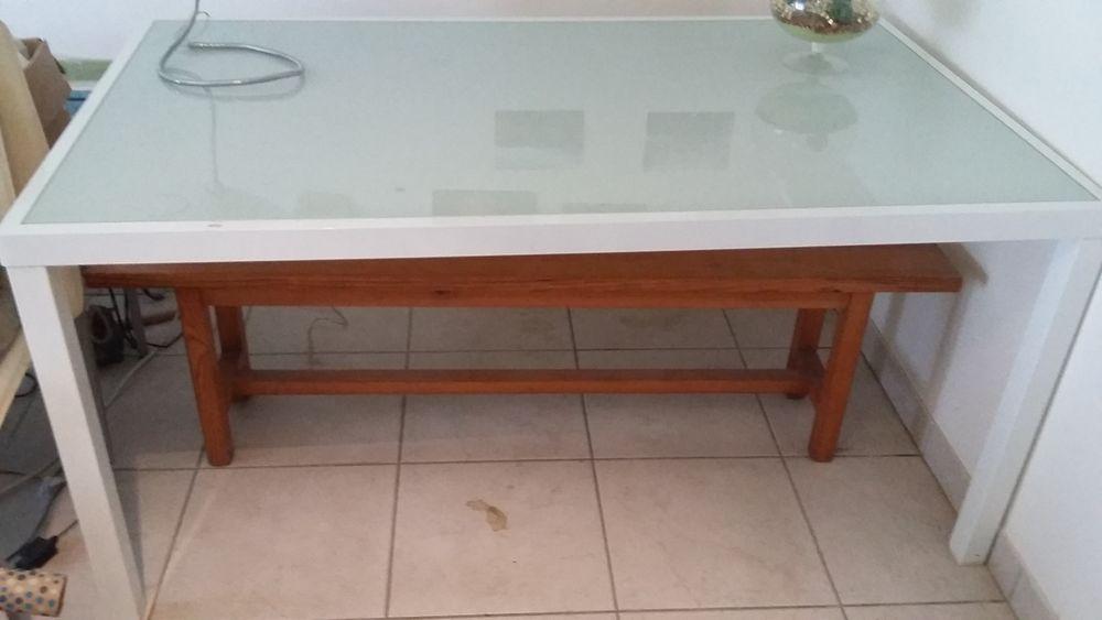 Table blanche en verre 80 Périgueux (24)
