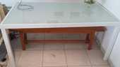 Table blanche en verre 130 Périgueux (24)