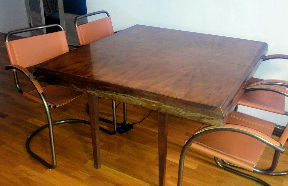 Table en bois ancienne pliante à rallonge 115x125/250