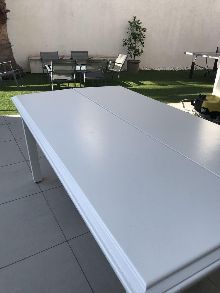 Table en bois blanche avec rallonges  99 Marseille 9 (13)
