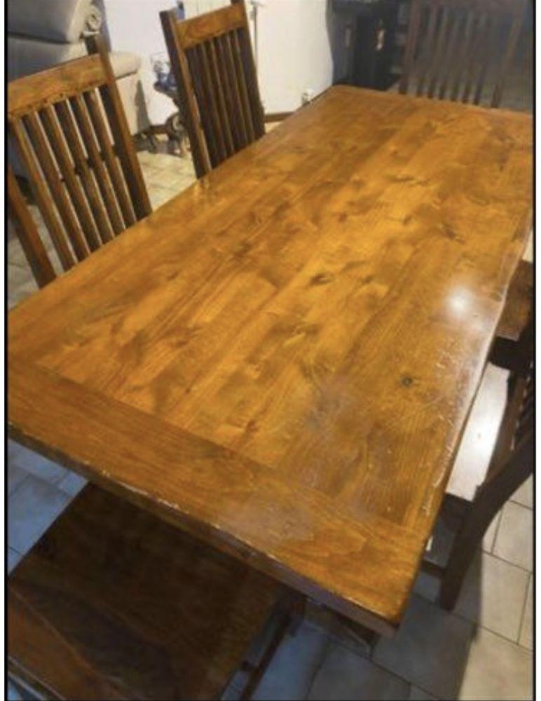 Table bois brut + 6 chaises  200 Vitrolles (13)