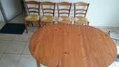Table en bois+6 chaises paillées rustiques 120 Bourges (18)