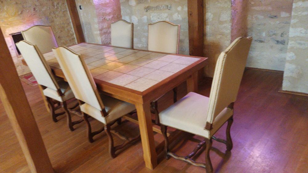 Table bois chêne dessus carrelée 130 Chablis (89)