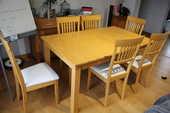 Table bois et ensemble de chaises 145 Caen (14)