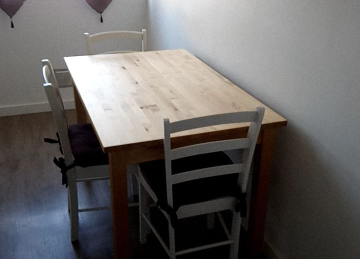 Table Bois Ikea 3 Chaises Blanches Meubles