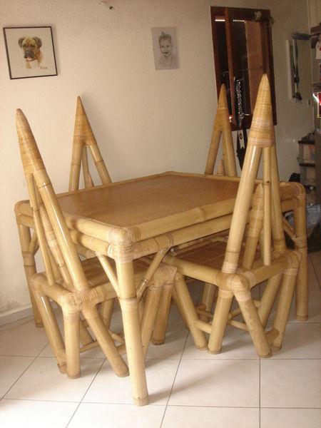 Table Et 4 Chaises En Bambou Chaussures Enfants