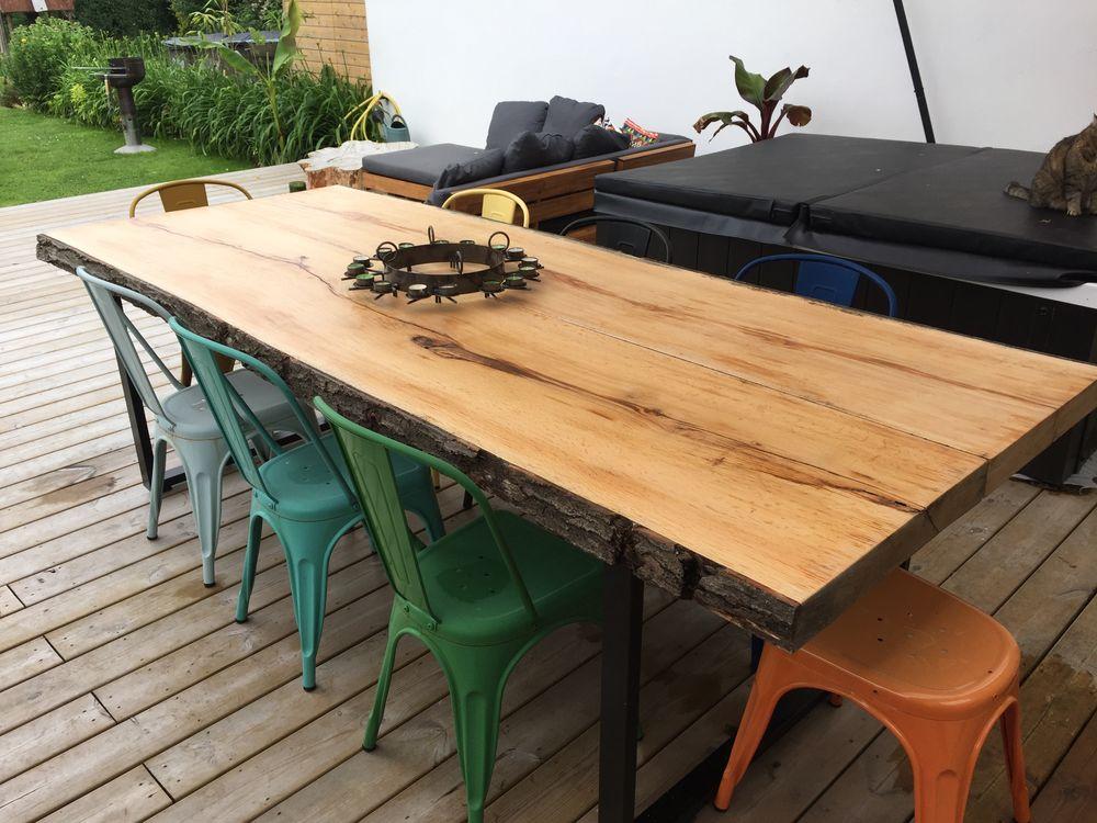Table en chêne massif  sur pied acier style industriel  0 Halluin (59)