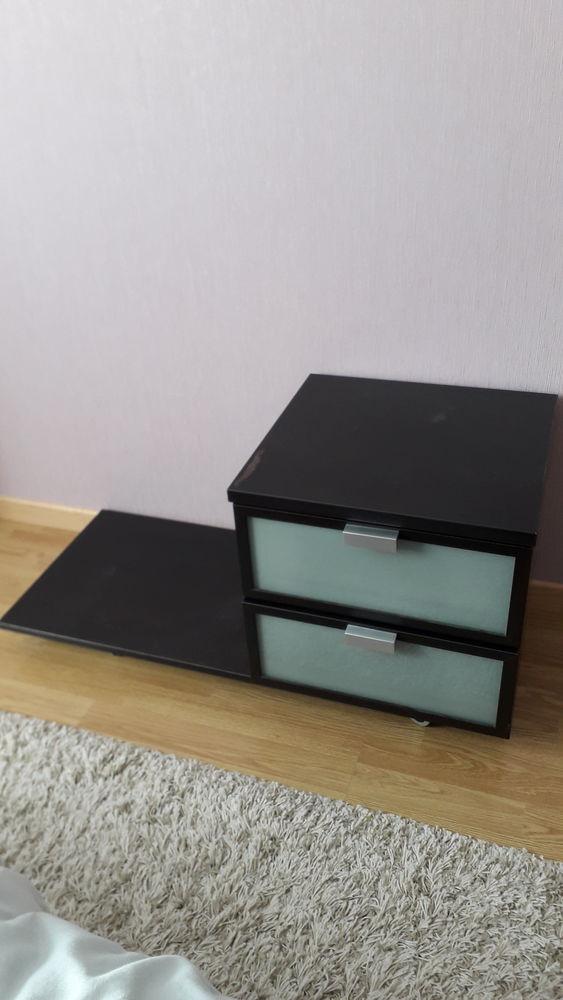 Table de chevet avec tiroirs bois foncé  50 Mont-près-Chambord (41)
