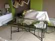 table fer forger dessus vitre et 4 chaises Meubles