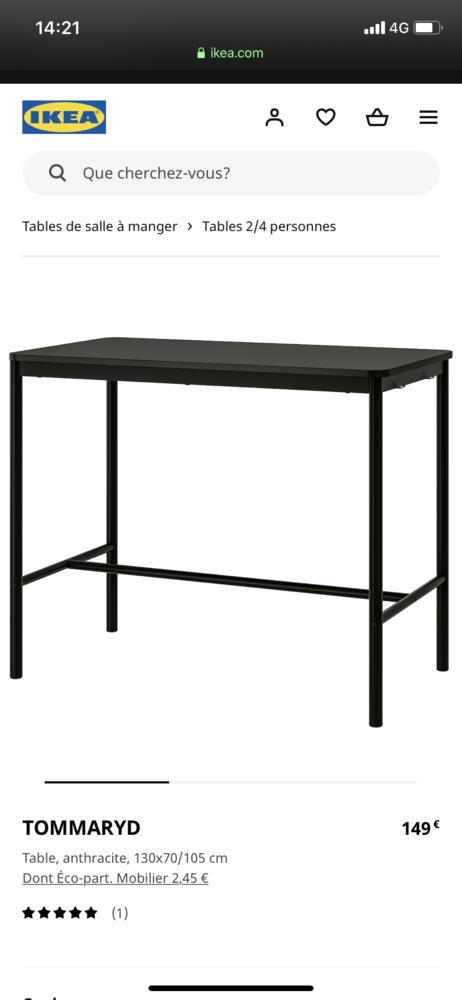 table haute + 4 chaises assorties de Ikea 150 Avignon (84)