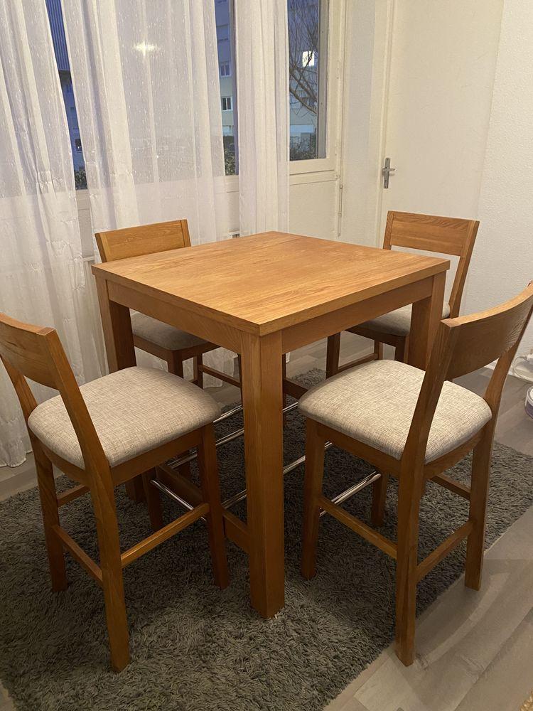 table haute + 4 chaises bois massif 400 Talence (33)