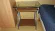 TABLE INFORMATIQUE PLAT.VERRE 73x55cm TRIPLE PLATEAUX