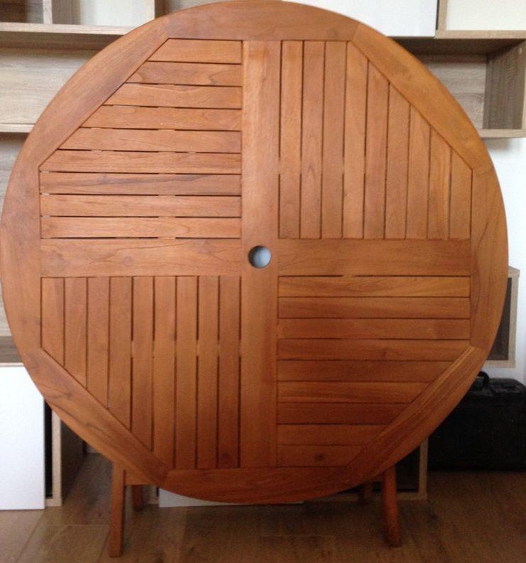 Table de jardin pliable en Teck (diam : 120cm) 135 Olivet (45)