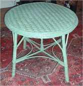 1 table de jardin/ veranda   en rotin laqué vert debut XX    40 Sainte-Foy-lès-Lyon (69)